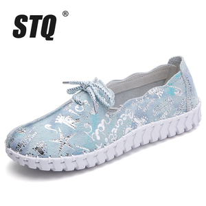 Image 2 - STQ Spring Women Flats Loafers Shoes Genuine Leather Flats Female Shoes Lace Up Loafers Casual Slip on Walking Shoes Woman 7760
