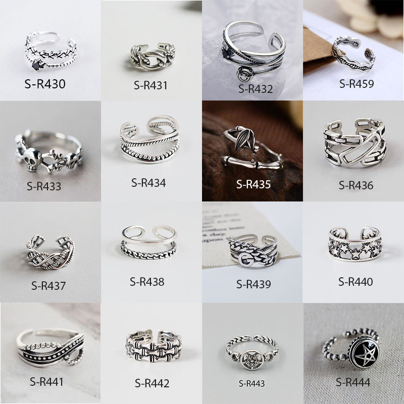 Vintage 925 Sterling Silver Rings Handmade Size 18mm Adjustable Rings For Men Women Thai Silver Jewelry