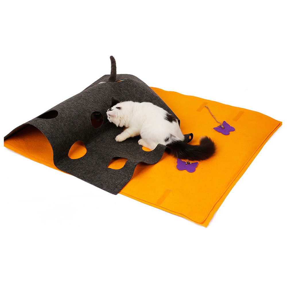 Hide-And-Seek Cat Playing Mat Diy Shape Blanket Puzzle Tunnel Toy