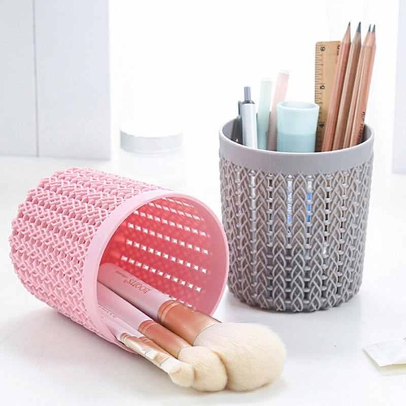 Rose/gris cylindre creux cosmétique brosse support de la boîte cylindre stockage vide support cosmétique brosse sac brosses organisateur maquillage