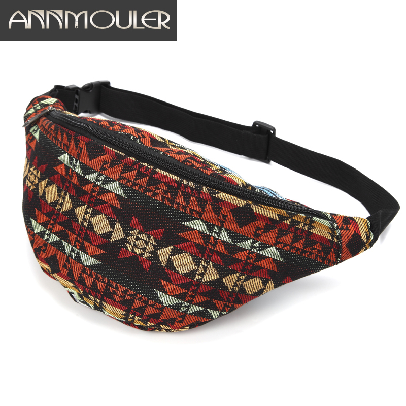 Annmouler Fashion Women Waist Bag Large Capacity Fanny Pack Hand-free Waist Pack Fabric Chest Bag Pack Adjustable Phone Pouch