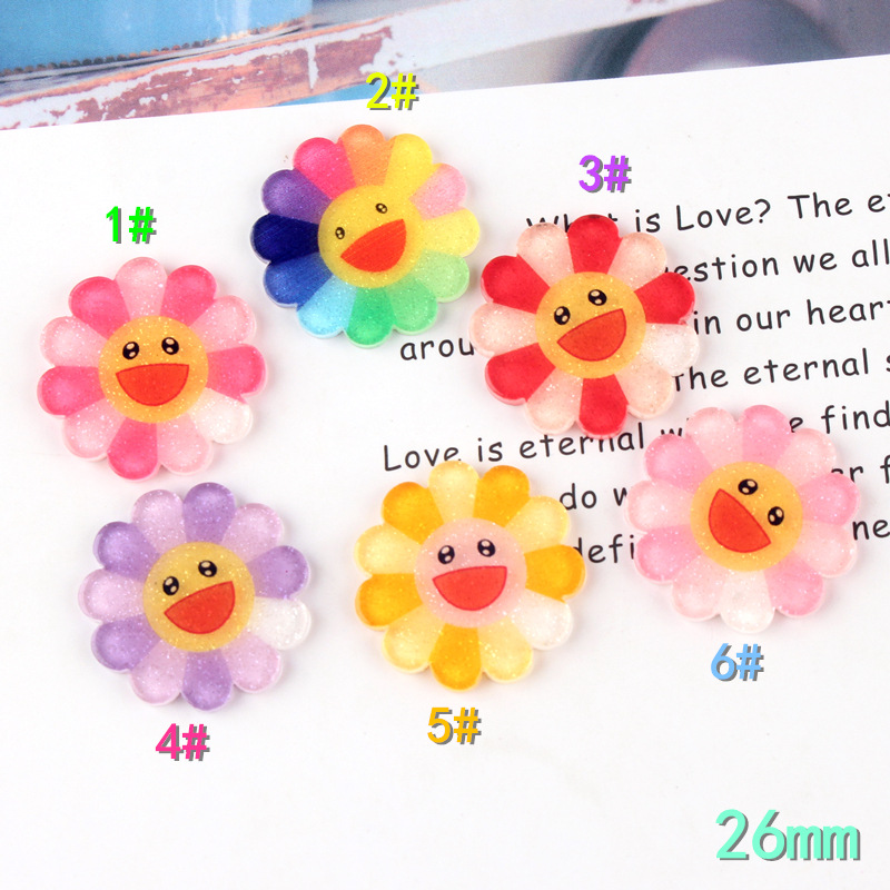 Mix Colors-10 ResinPlastic Sun Flower Cabochons,Christmas Tree Ornament,Floral Cabochons Charms,Kawaii Decoden Cute Charms,24mmx24mm
