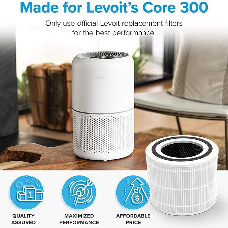 for LEVOIT Core 300 Air Purifier Replacement Filter, True HEPA Filter, High-Efficiency Activated Carbon Filter Core 300