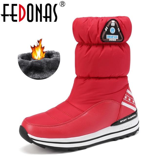 FEDONAS yeni kadın Flats platformları kış sıcak kar botları kaliteli su geçirmez ayakkabı kadın kadın yüksek orta buzağı Boots ayakkabı