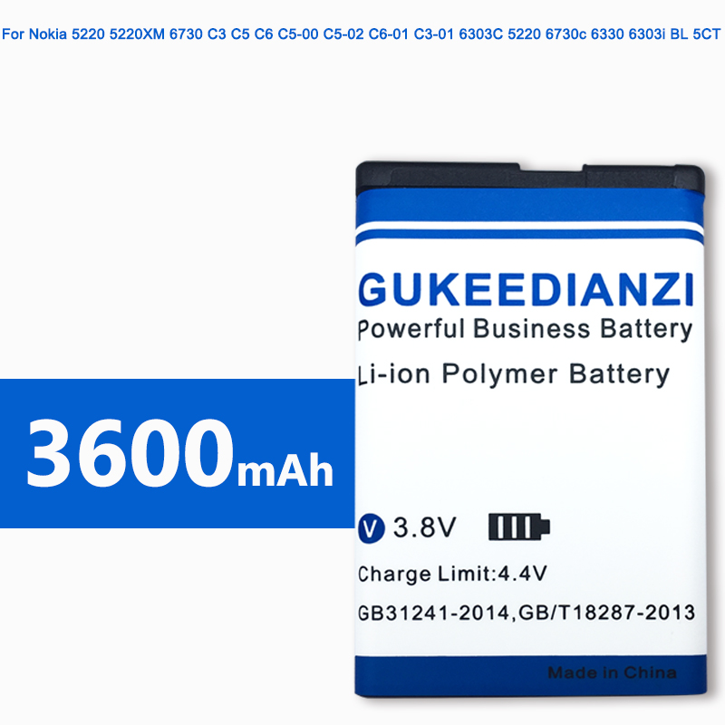 BL-5CT 3600mAh 100% New Mobile Phone Battery For Nokia 5220XM Battery 6730 C5-00 C6-01 C3-01 6303C 5220 6730c C5 6303i(China)