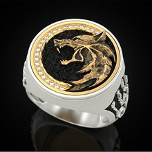 Fashion Jewelry Rings, The ring of the witch hunter's Wolf head, Punk ring for men gorilla ring animal ring rise of the planet of the apes punk biker caesar ring for man fashion vintage personality jewelry j2811