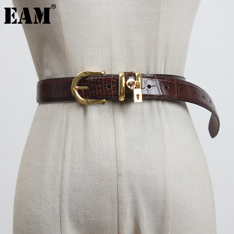 [EAM]  Pu Leather Black Buckle Split Long Wide Belt Personality Women New Fashion Tide All-match Spring Autumn 2021 1DC744