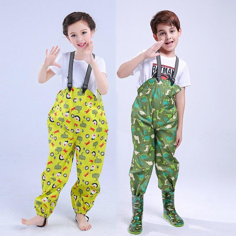 2021 Cartoon Child Rain Pants Sport Boys Bib Overalls Waterproof Girls Jumpsuit Outdoor Toddler Summer Clothes Baby Trousers