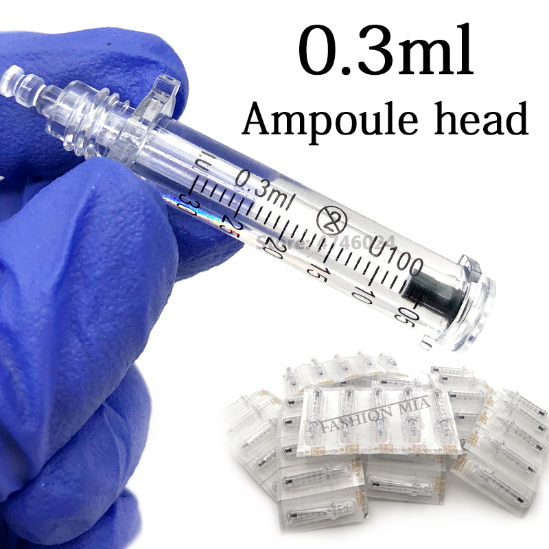 Noninvasive Nebulizer Disposable 0.3ML Syringe Ampoule Head Needle For Hyaluron Pen Meso Injection Gun Anti-wrinkle Lip Filling