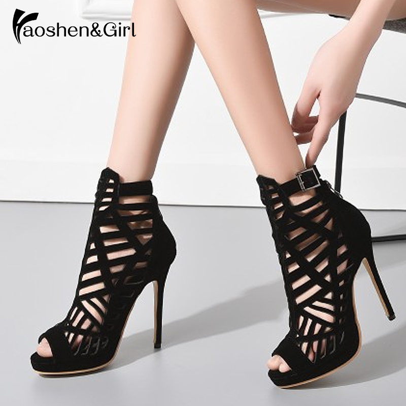 Haoshen&Girl 2019 New Women <font><b>High</b></font> <font><b>Heel</b></font> <font><b>Sandals</b></font> <font><b>Platform</b></font> Party <font><b>Sexy</b></font> <font><b>Heels</b></font> Fashion Rome Carved Hollow Woman <font><b>Sandals</b></font> Big Size 28-52 image