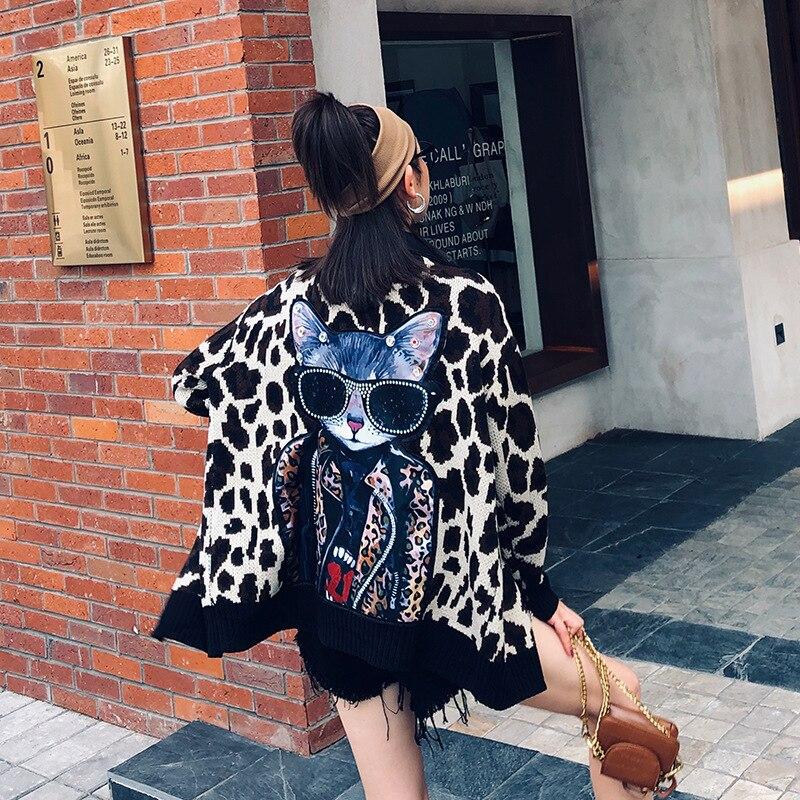 Thailand Street Brand 2019 Autumn New Cartoon Patch Printing Fight PU Leopard Sweater Coat Female Loose Casual