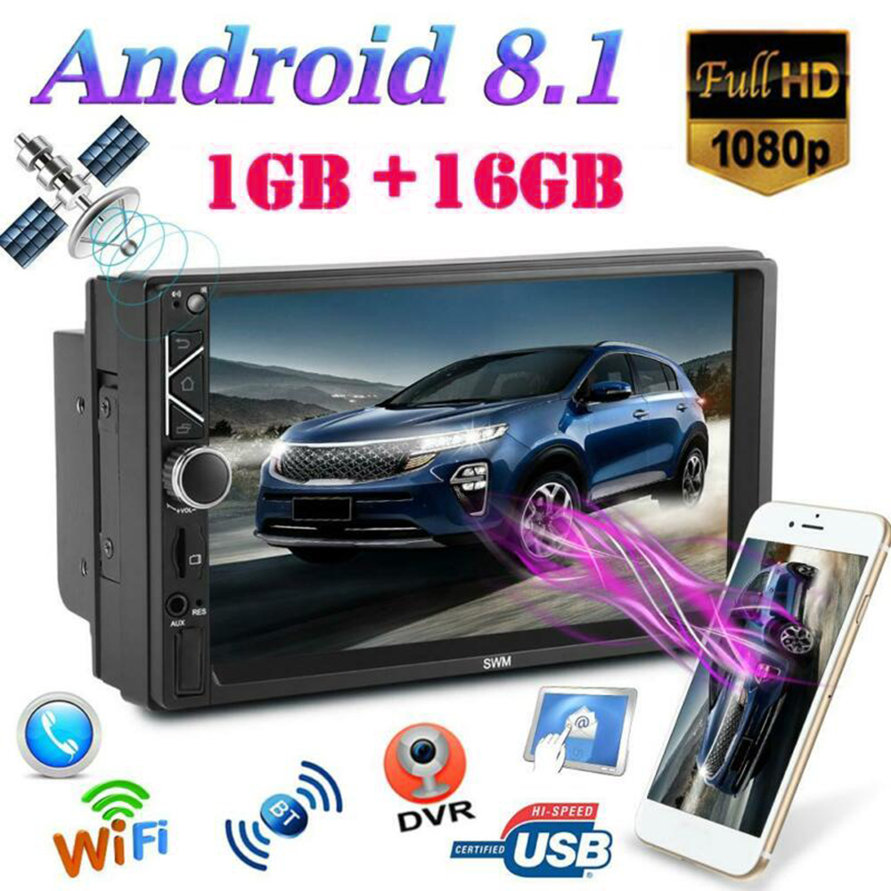 7 Inch Car Multimedia MP5 Player 12V Android 8.1 GPS Navi WiFi 2Din Quad Core Stereo MP5 Player FM Radio RCA audio AUX Cable image