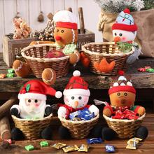 Christmas Decorations Fruit Basket Childrens Gift Candy Box Large With Doll Snowman Elk Storage