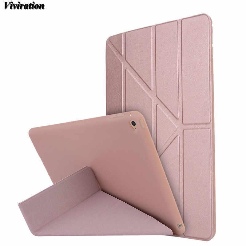 Funda abatible de lujo al por mayor para Apple iPad Air 2 Tablet PC Auto Wake/Sleep funtion TPU Shell funda para iPad 6 De Apple