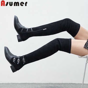 ASUMER 2020 new over the knee boots stretch+cow leather boots zip square heels ladies prom thigh high boots