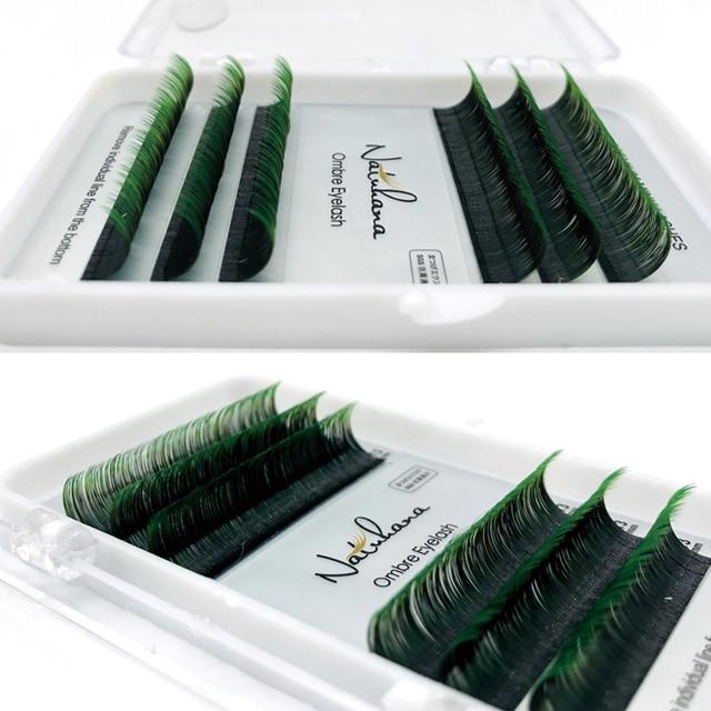 NATUHANA 6Rows Ombre Color Eyelash Extension Individual Faux Mink Lash False Gradients Eyelashes Professional Salon Makeup tools 4