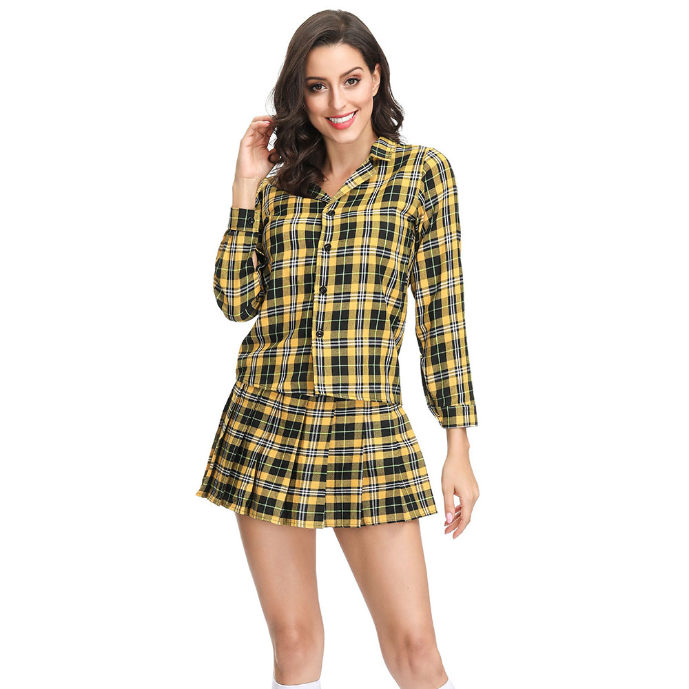 90s Women Girl Cosplay Costumes Alicia Checkered Cher Silverstone Material Item Type Source Characters Movie Clueless Year party image