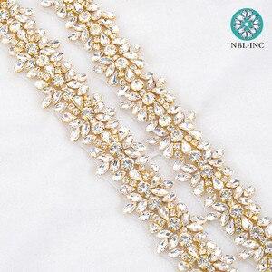 Image 2 - Apliques de diamantes de imitación para vestido de novia, cinturón de banda para vestido de boda WDD0278, oro rosa, 10 yardas, venta al por mayor