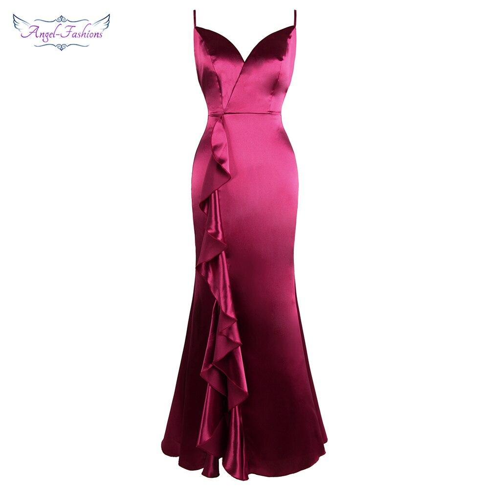 Angel-fashions Women's Spaghetti Strap V Neck Satin Slit Ruffles Backless Maxi Bodycon Sexy Prom Dress Rose 475