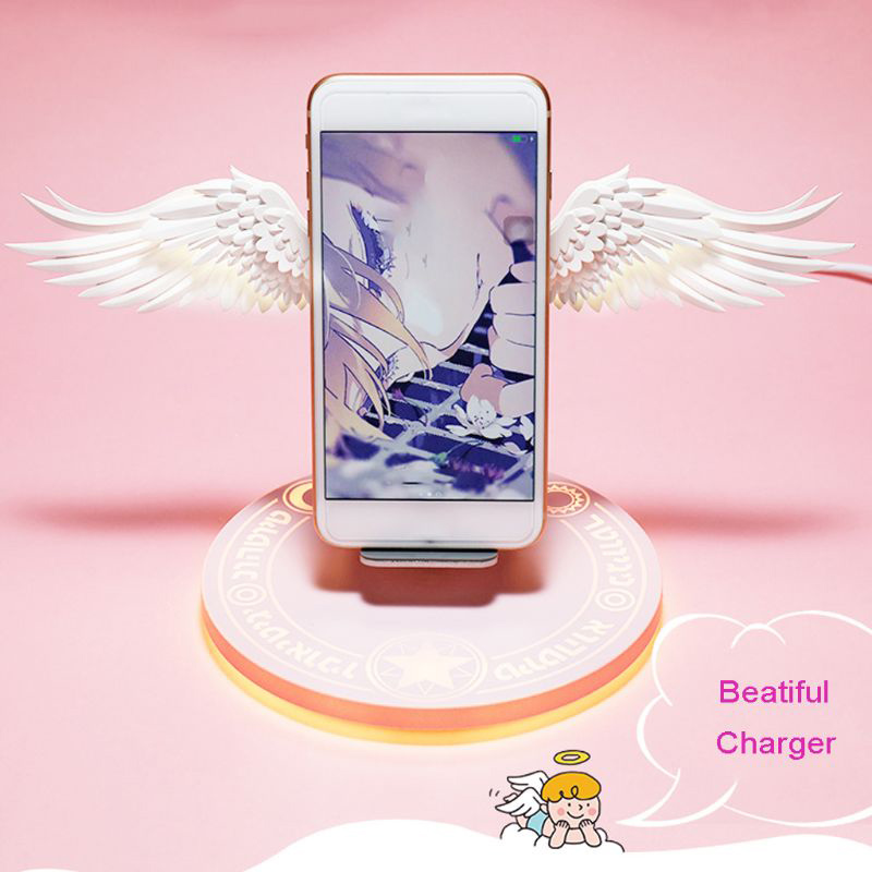 Fast Wireless Charger Mobile Phone Power Bank LED Angel Wings Wireless Charging Dock 10W Charger