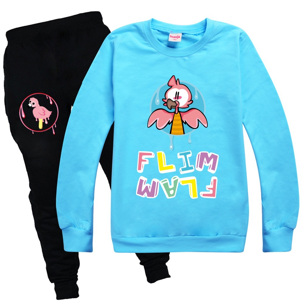 Toddler Girl Fall Clothes 2020 Girls Boutique Outfits Round Neck Sweater + Casual Pants Cotton Flamingo Flim Flam Boys Shirt Set 3