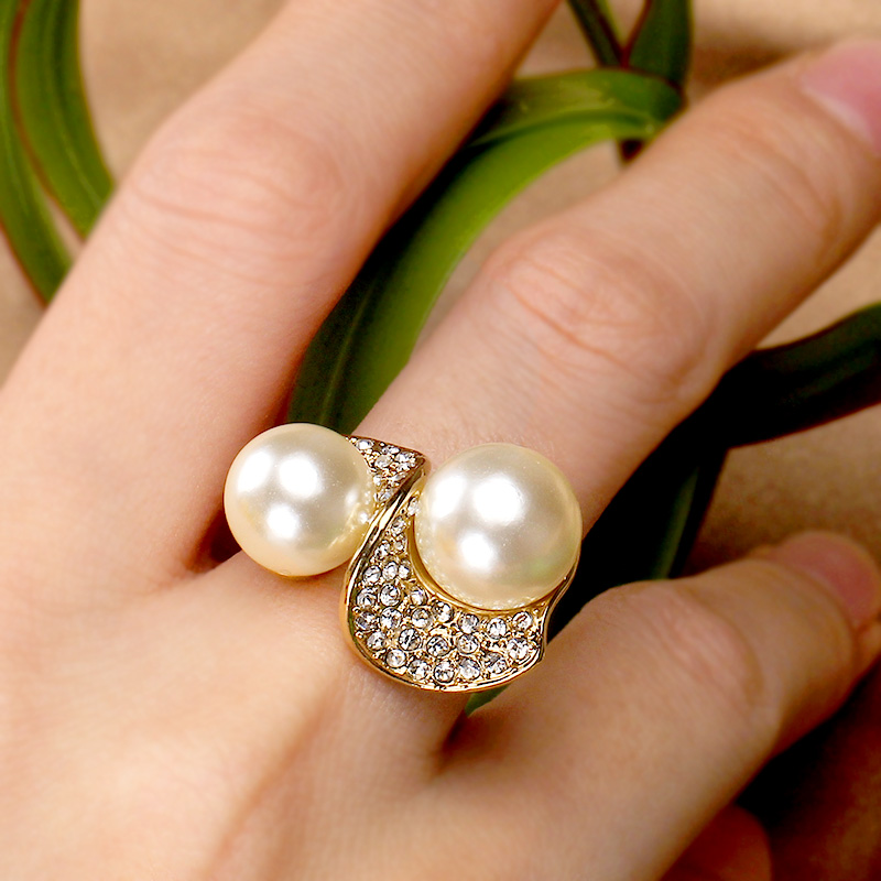 alloy Rhinestone Ring Natural shell pearl High quality Non fading Discount sale Free shipping(China)