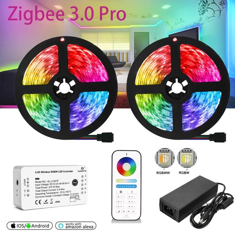 GLEDOPTO Zigbee 4in1 LED Strip Light DC12V 5050 RGBW RGBWW Flexible Tape Home Smart APP Voice Control w/Remote for Alexa HU-E