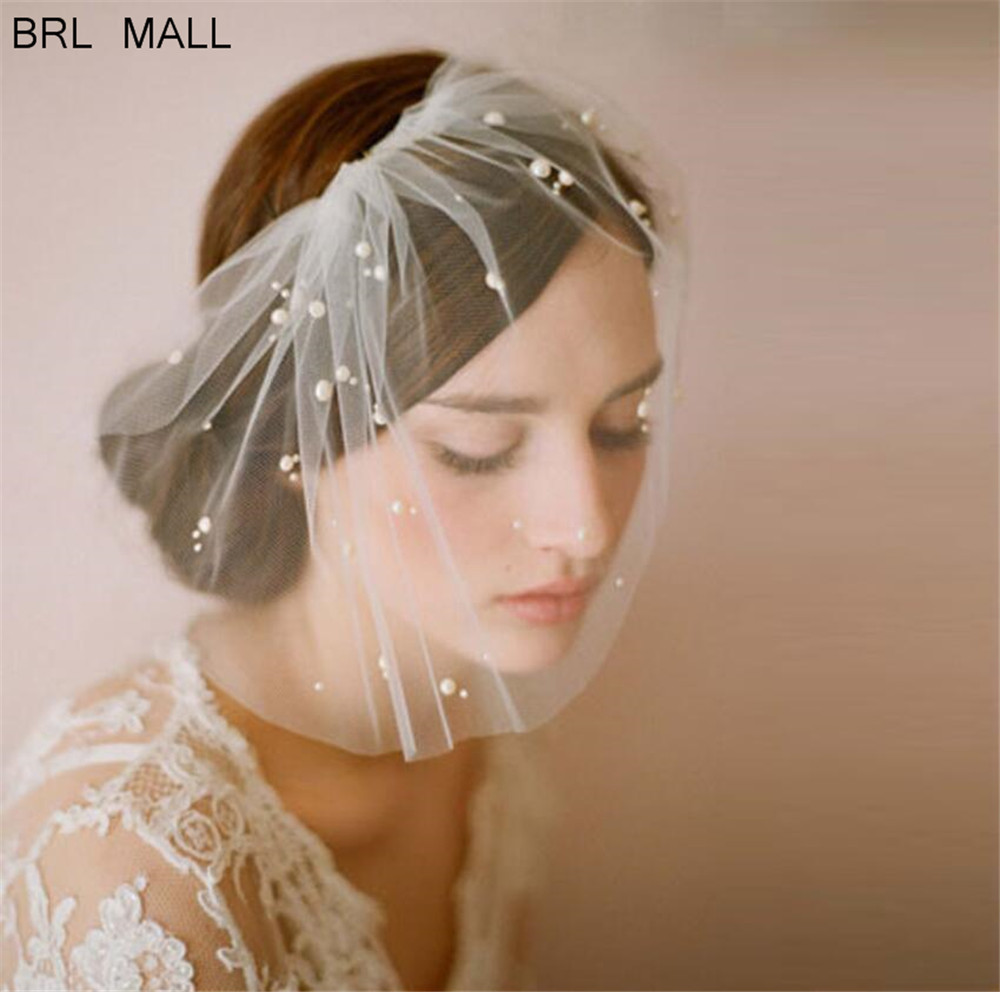 Ivory Pearls Tulle Wedding Birdcage Veil With Comb Two Layers Fascinator Cheap Wedding Bride Face Veils Party Hair Accessories