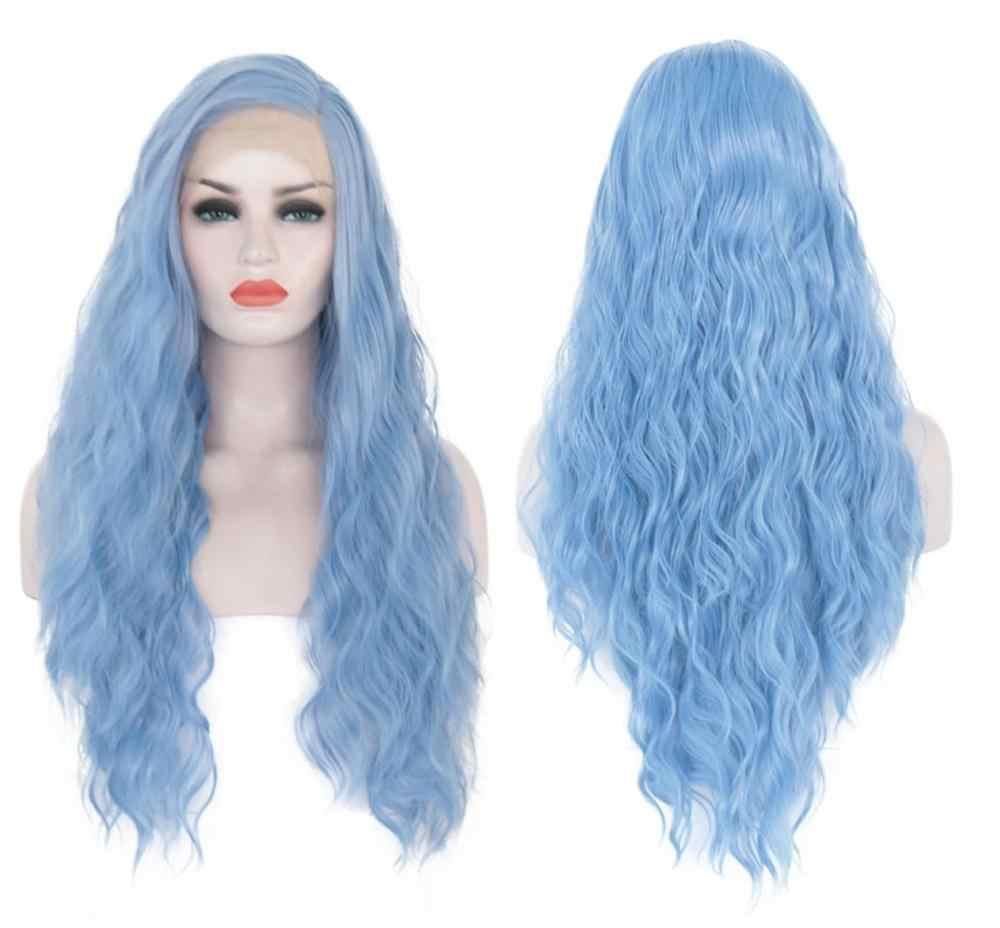 VREUGDE & BEAUTY 26 inch Synthetische Lace Front Pruik Sky Blue Lang Krullend Pruiken Hittebestendige Cosplay Pruik Voor Vrouwen