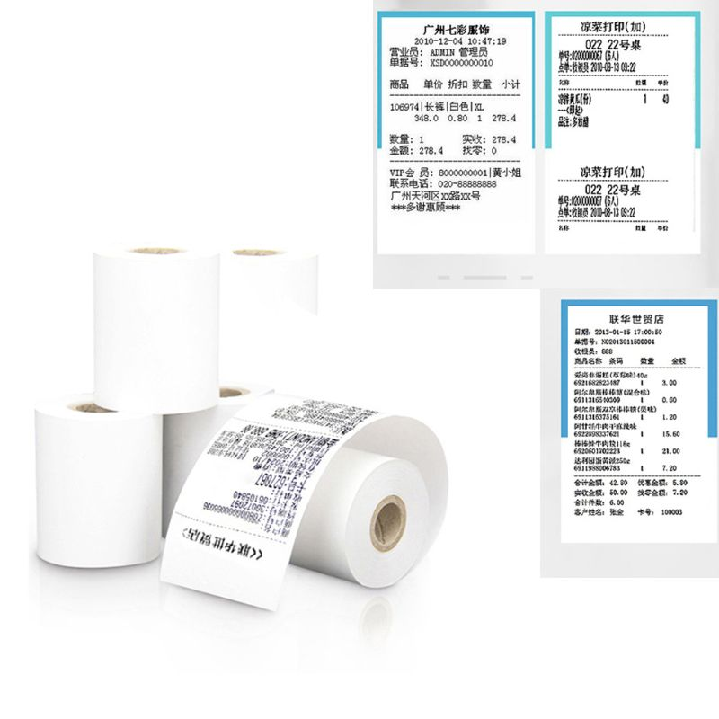 4Pcs Thermal Paper 57x50mm Thermal Receipt Paper POS Cash Register Receipt Roll For 58mm Thermal Printer PXPA