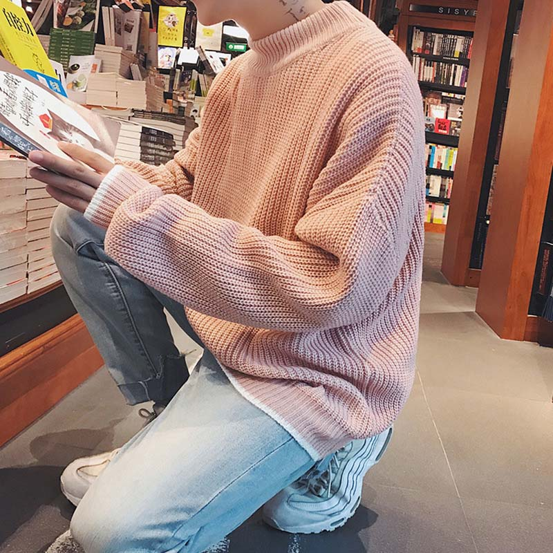 Fashion 2020 Autumn Winter Pull Homme Men's Pullover Korean Handsome Loose Round Neck Students Pink Sweater Casaco Masculino