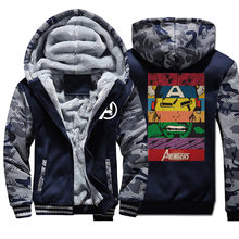 The Avengers Winter Men Thick Warm Fleece Jacket Hulk Iron Man Camo Hoodie Raglan Jackets Tracksuit Sportswear Camouflage Coats(China)