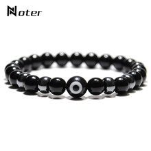 New Design Evil Eye Bracelet Man Women 8mm Natural Obsidian Stone Braslet Beads Ceramics Strand Brazalete Pulseira Jewelry Gift(China)