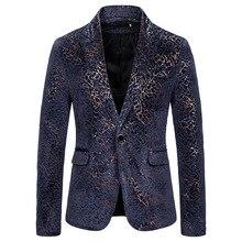 Puimentiua Men's Large Size Floral Blazer Brand National Wind Navy Red Wine Men's Blazer Slim Suit Blazer цена