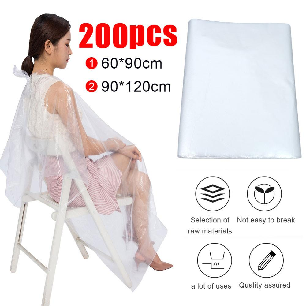 50/100/200Pcs PE Disposable Hairdressing Capes Waterproof Transparent Apron Cutting Perm Dye Hair Cape Barber Hairdressing Cloth