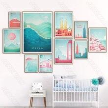 Casa de montanha mar paisagem cartaz estilo nórdico arte da parede impressão em tela pintura moderna sala estar decoração