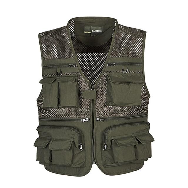 Unloading Men's Vest Tactical Webbed Gear Coat Summer Photographer Waistcoat Tool Many Pocket Mesh Work Sleeveless Jacket Male 4