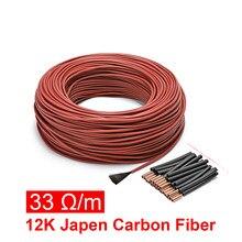 10 a 100 metros 12k piso quente aquecimento cabo 33ohm/m fibra de carbono fios aquecimento fio bobina