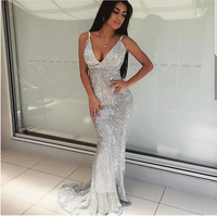 Sexy Stretch Silver Sequin Maxi Dress Mermaid Floor Length Party Dress Padded V Neck Backless Dress Emerald Green Red Gold Black