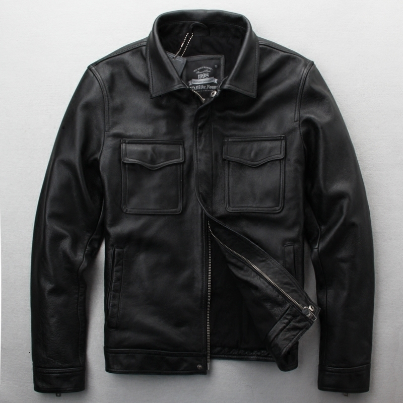 2020 New Male Black/Brown Edging Cow Motorcycle Jacket Simple Casual Thick Cowskin Riding Jackets Winter Coats