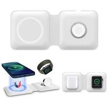 2 In 1 Klapp Magnetische Duo Drahtlose Aufladen Pad Für Apple iPhone 12 Mini Pro Max Uhr Magsafing Drahtlose Ladegerät station Dock