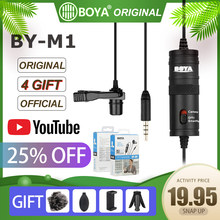 Oficjalny oryginalny BOYA BY-M1 Lavalier mikrofon kamera wideo rejestrator dla iPhone Smartphone dla Canon Nikon DSLR Zoom kamera