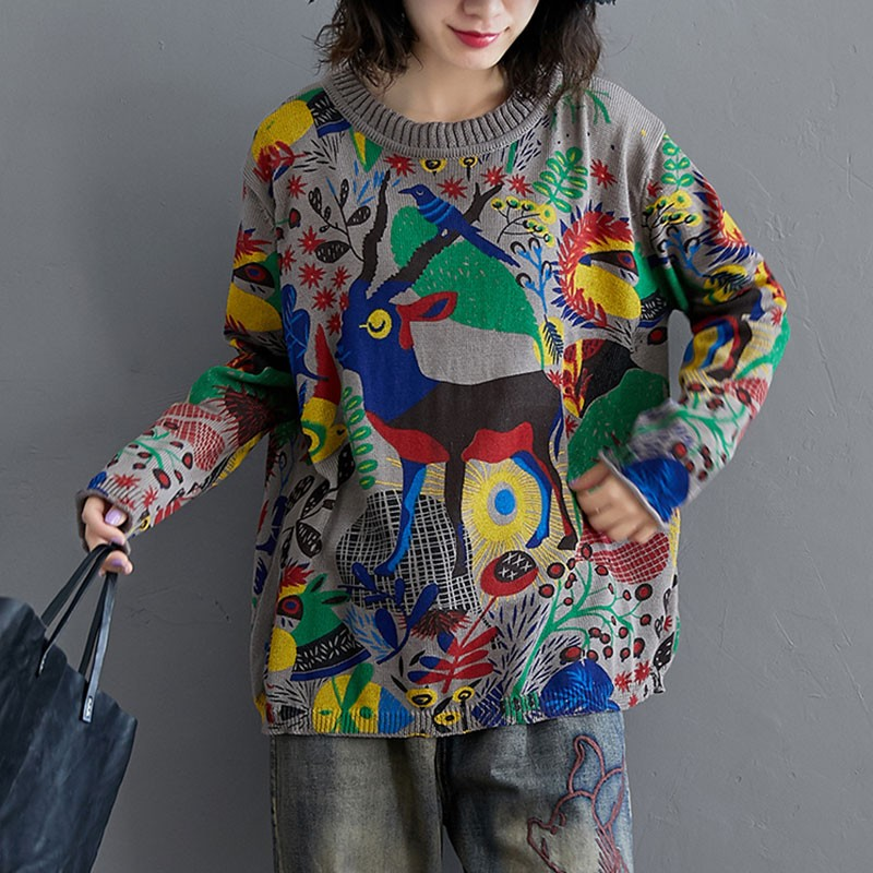 Oversized Women Autumn Casual Sweaters New Arrival 2020 Streetwear Vintage Print Loose Comfortable Female Knitted Pullover
