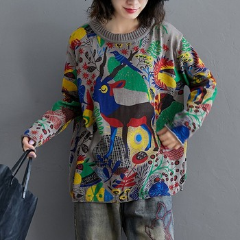 Oversized Women Autumn Casual Sweaters New Arrival 2020 Streetwear Vintage Print Loose Comfortable Female Knitted