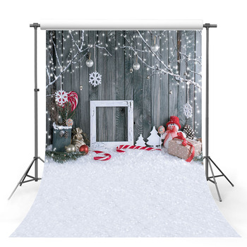 Mehofond Christmas Backdrops Snowman Photo Frame Gray Wood Wall Gift Sock Snowflake Photography Backgrounds for Photo Studio allenjoy photophone backdrops christmas winter wonderland snowflake snowman children frozen photo studio backgrounds photobooth