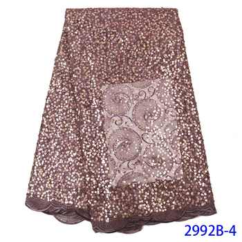 African Lace Fabric 2019 French Sequins Net Lace Noble Sequins Fabrics High Quality Nigeria Tulle Sequence Lace Fabric QF2992B-4