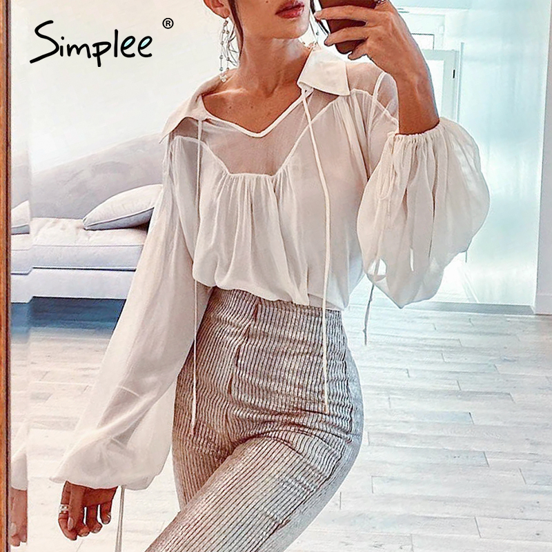 Simplee Sexy Mesh Transparent Women Blouse Shirt Elegant Lace Up Female Top Shirt Lantern Sleeve V-neck Ladies Blouse Tops Shirt