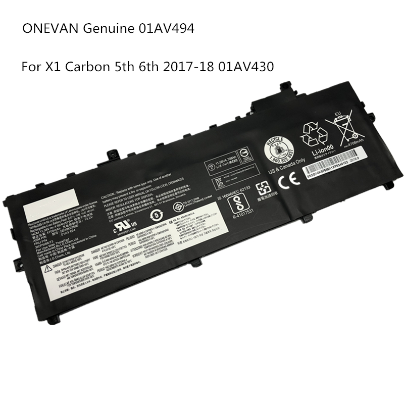 ONEVAN NEW 01AV494 Laptop Battery 01AV430 SB10K97586 for Lenovo ThinkPad X1 Carbon 5th Gen 2017 6th 2018 Series 01AV494 01AV429 image