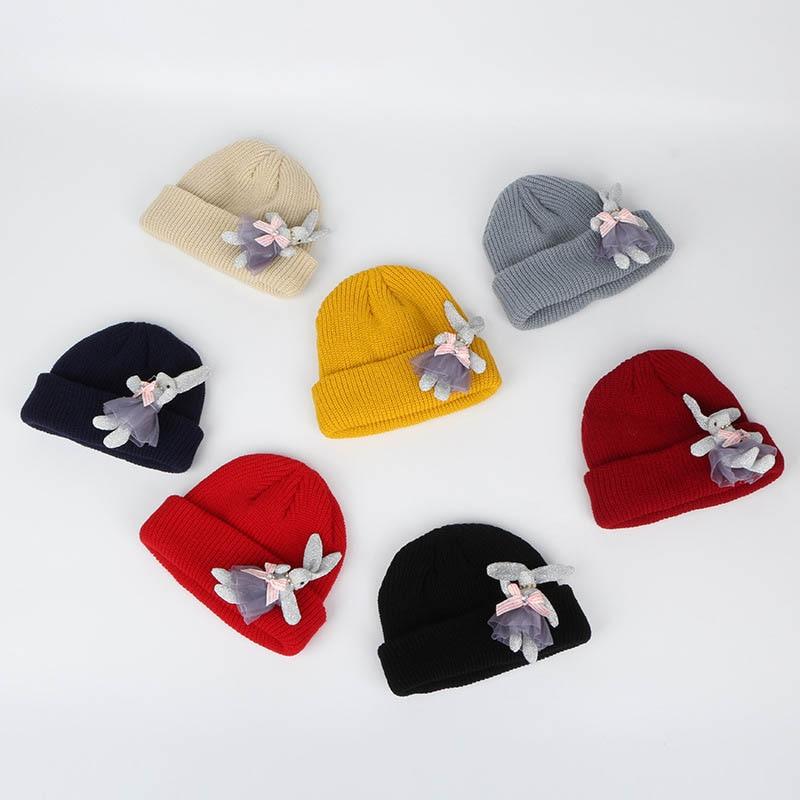 Fashion Newborn Boys Girls Cute Autumn Winter Warmer Kids Baby Cartoon Rabbit Print Hats Wool Hemming Caps For Baby Boys Girls