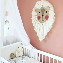 Kids Room Decoration Ornaments Hand Woven Lion/Sheep Hanging Animal Head Wall Decor Cotton Thread Weaving Photo Props Baby Gift